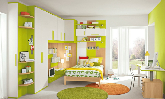 jugendzimmer gestalten ideen in weiß und grün deko runde teppiche orange und grün gelbe decke