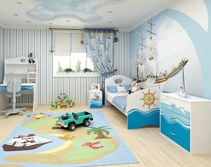 farb wandgestaltung kinderzimmer junge blau weiss bordure. Black Bedroom Furniture Sets. Home Design Ideas