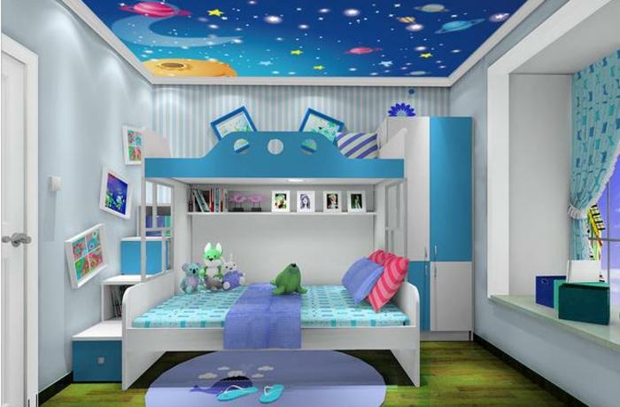 jungenzimmer gestalten ideen in weiß und blau kuscheltiere auf dem bett bunte kissen ideen teppich