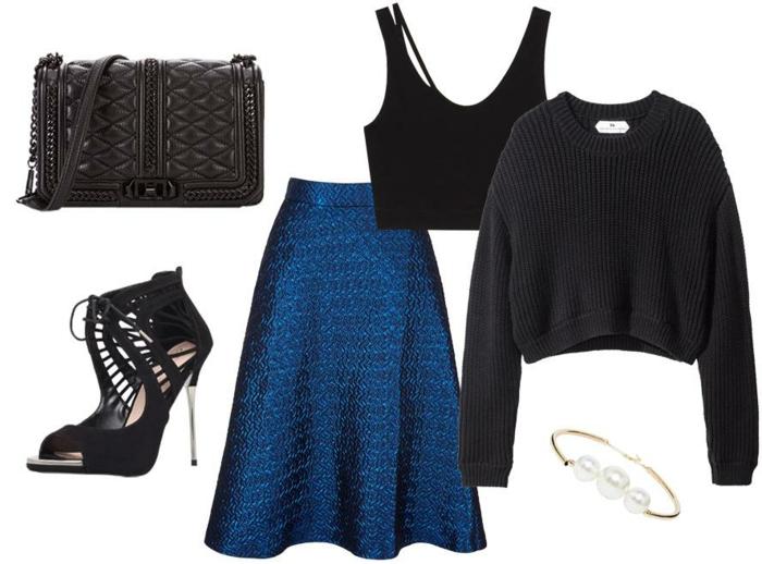 dresscode sommerlich festlich schwarz und blau blaues kleid schwarzer pulli tasche absatzschuhe
