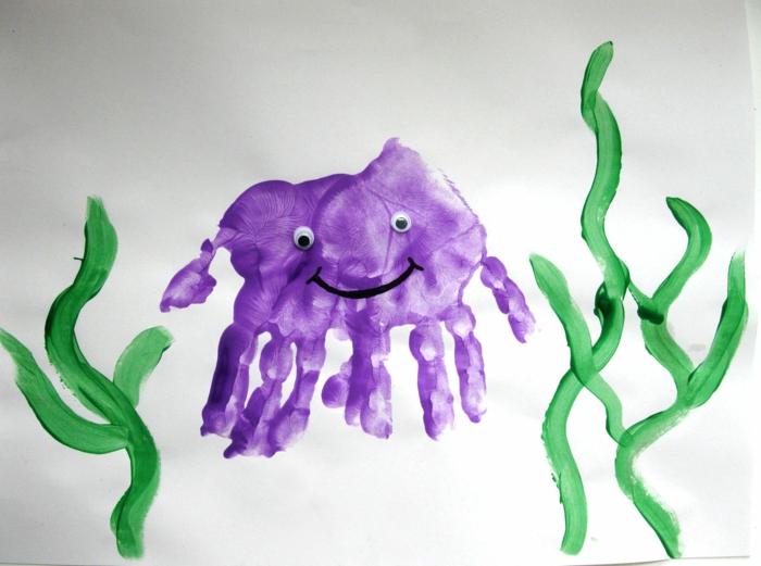 lila krake - tolles handabdruck bild