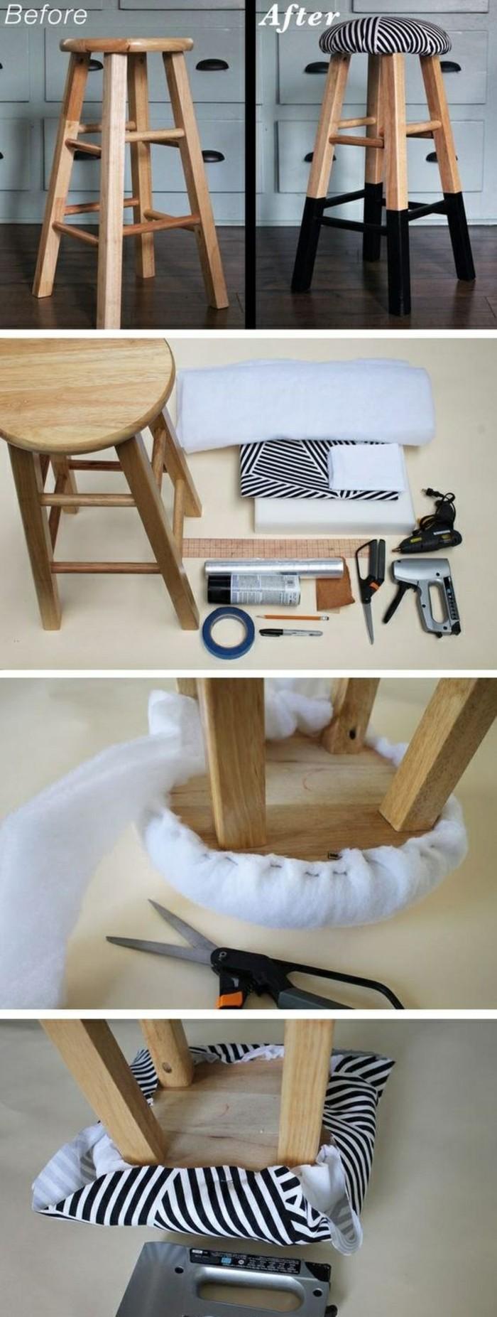 möbel-restaurieren-hocker-tapezieren-und-bemalen-diy-ideen-stoff-schere