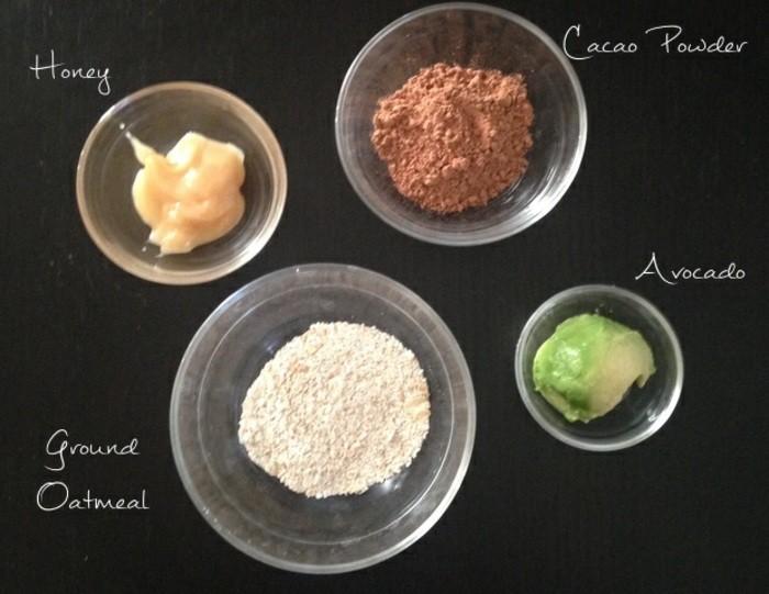 gesichtsmaske-selber-machen-honig-avocado-glasschalen-cacao-gesichtspflege