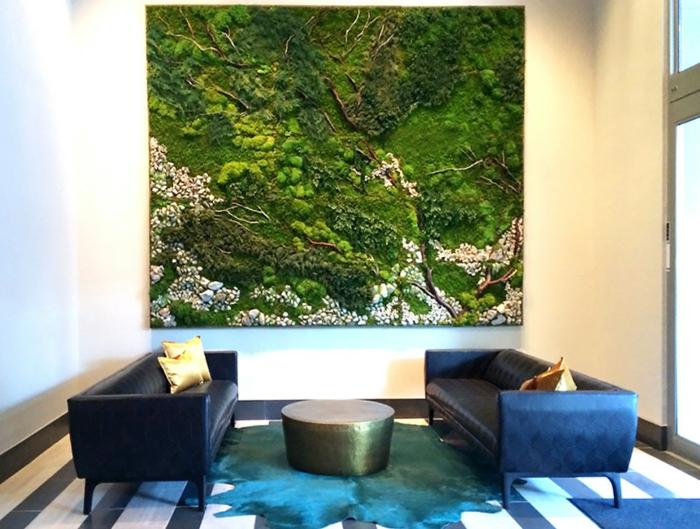 wunderbares selbstgemachtes Moosbild für das Wohnzimmer