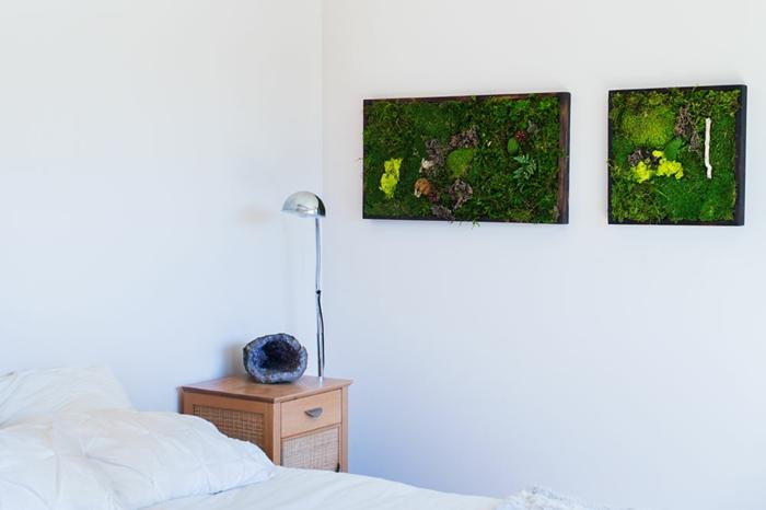 damit Ihr Schlafzimmer frisch bleibt, hängen Sie Moosbilder an die Wand