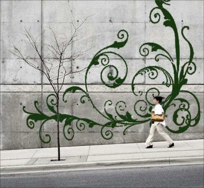 Streetart Moos Graffiti an einer Wand