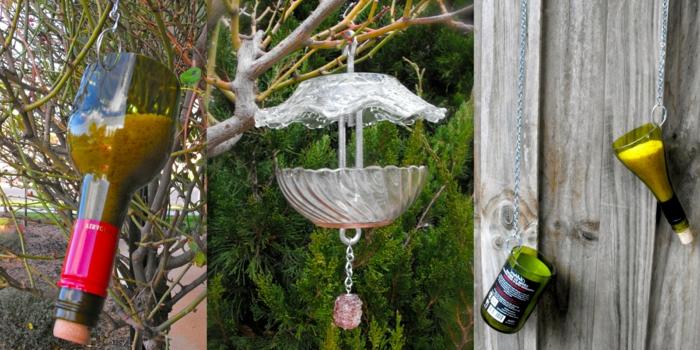 Futterstelle für Vögel aus geschliffenem Glas