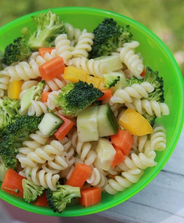 Rezept für kinderfreundliches Nudelsalat mit Broccoli, Karotten, Gurke und gelber Paprika