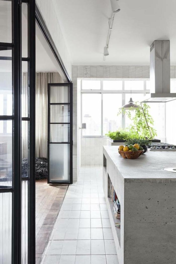 offene-küche-trennen-glastür-harmonikatür-weiße-küche-pflanzen-kochbücher-parkett-fliesen-weiß