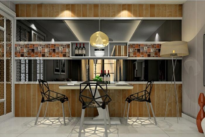 offene-küche-wohnzimmer-abtrennen-regal-raumteiler-esstisch-moderne-plastikstühle-weiße-bodenfliesen-stehlampe