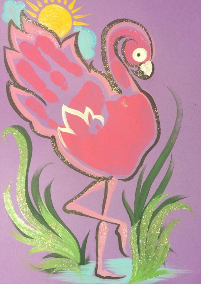 pinker flamingo - bild mit handabdruck