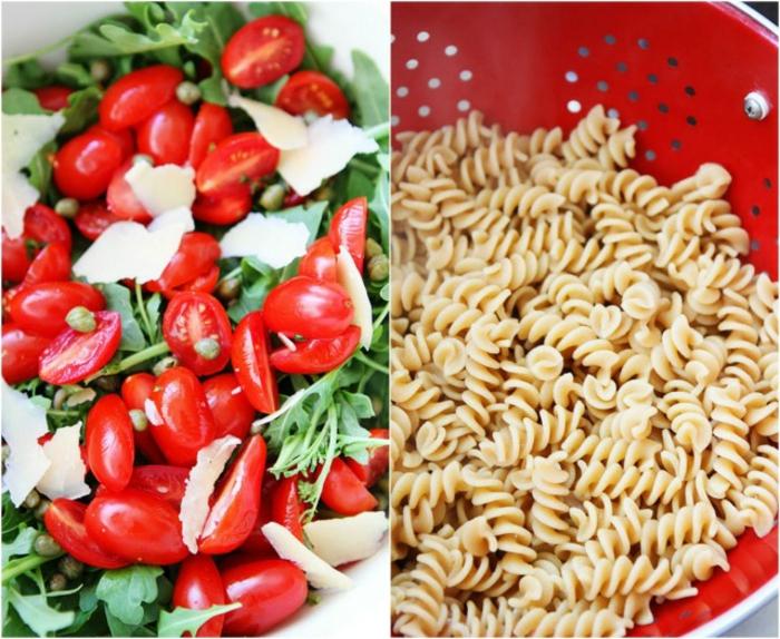 einfacher Rezept für Nudelsalat - Cherrytomaten, Parmesan und Kräuter