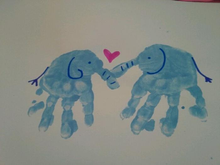 schöne bilder mit handabdruck - hier sind zwei elefanten
