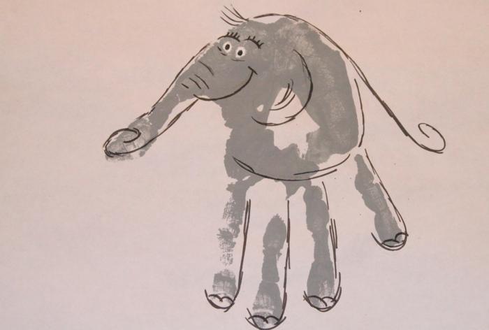schönes bild mit handabdruck - noch ein schöner elefant