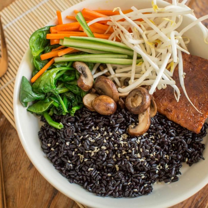 rezept schwarzer reis ideen selber kochen gesunde speisen für die familie zubereiten gemüse reis