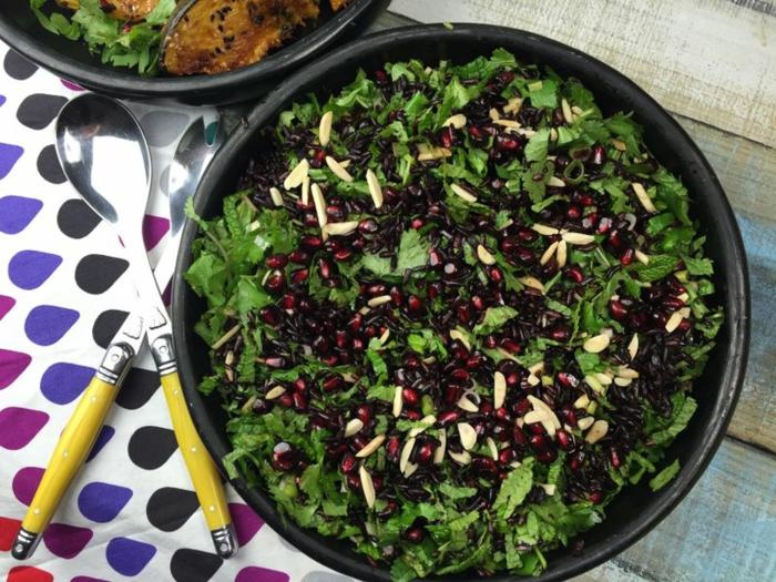 rezept schwarzer reis nährwerte von reis salat mit schwarzem reis zubereiten grünsalat petersilie