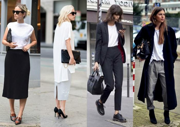 smart casual frau bekleidungsideen in schwarz und weiß turnschuhe ballerinas absatzschuhe brille