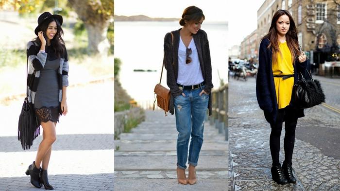 smart casual frau drei frauen models kleid mit spitze jeans tshirt gelbes kleid taschen accessoires