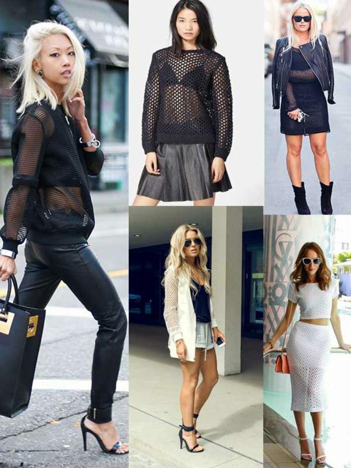 dresscode smart casual schwarz-weiße outfit ideen für trendige frauen blonde und brünette