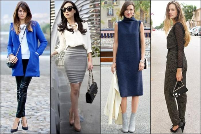 smart casual frau vier inspirationen beispiele für elegante sportlich bekleidete frauen