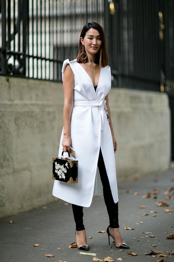 gehobene freizeitkleidung für frauen weiße weste quadratische tasche absatzschuhe frau