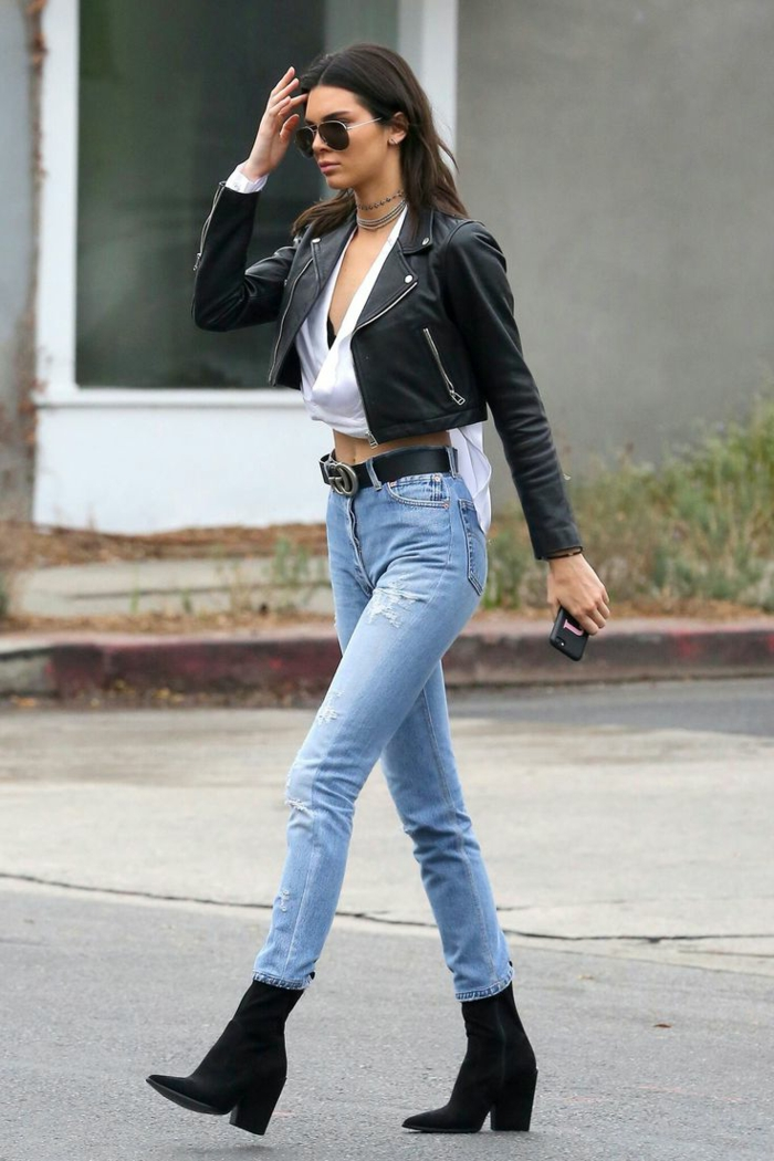 leger kleidung kendall jenner absatzschuhe stiefel jeans gucci gürtel lederjacke