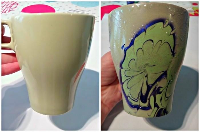 tassen-anmalen-grüne-tasse-mit-bemalten-blatt-mit-blauem-akzent