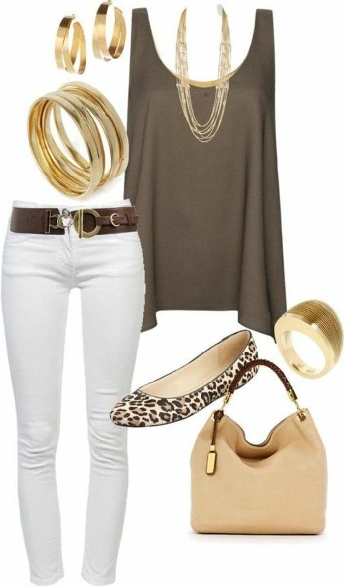 smart casual dress code weiße hose beige top leo schuhe beige tasche goldener schmuck