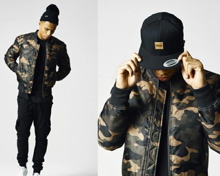 Urban Classics für Herren - schwarze Hose, Mütze, Bomberjacke mit Camouflage Muster