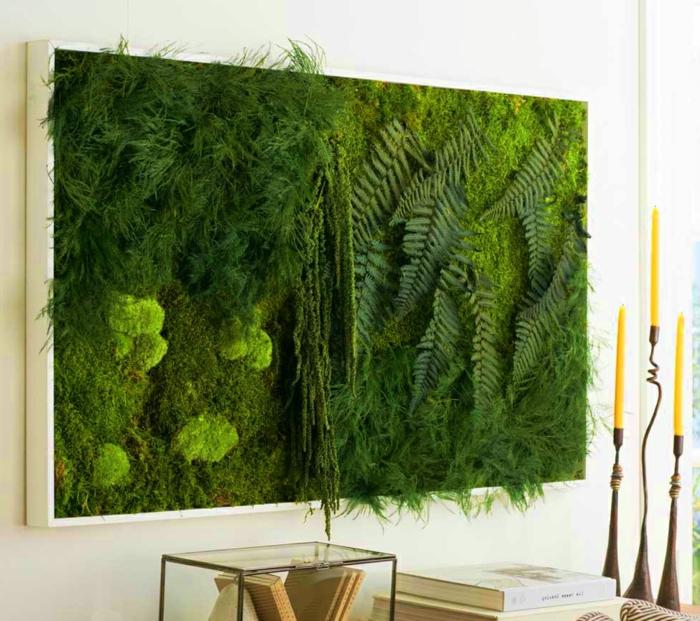ein DIY Bild mit Moos und verschiedenen Pflanzen