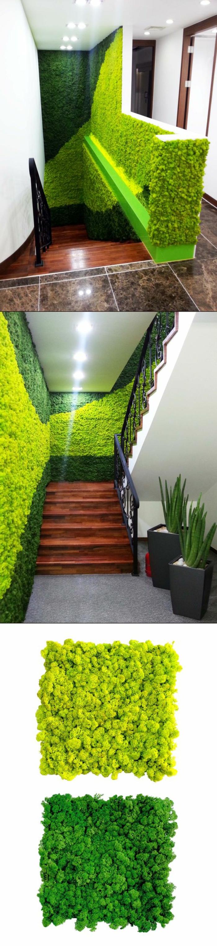 die Wände im Treppenhaus mit Moos verkleiden