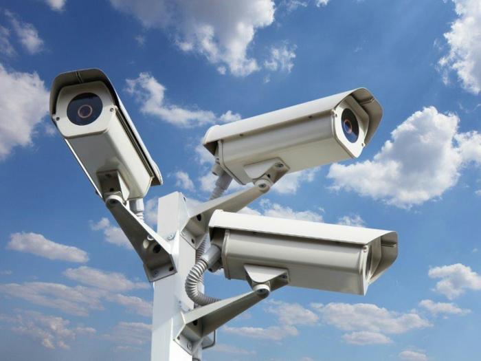 drei Kameras auf öffentliche Stelle