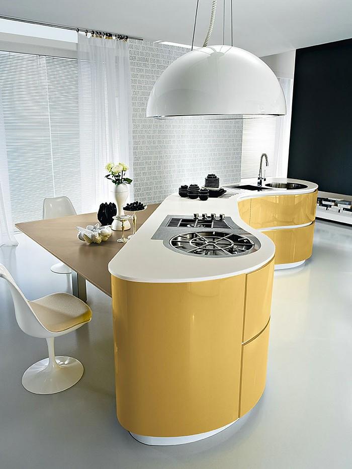 wände-streichen-schwarz-küchenboden-weiß-kochinsel-gelb-gasplatte-ecktisch-weiße-stühle-blumen