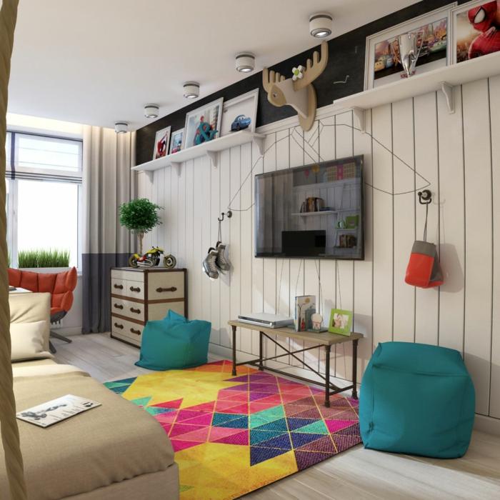 dezente und kreative kinderzimmergestaltung bunter teppich elen deko türkisfarbene hocker