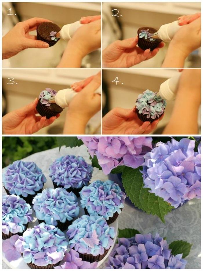 cupcakes dekorieren - kleine blumen mit tortenspritze machen