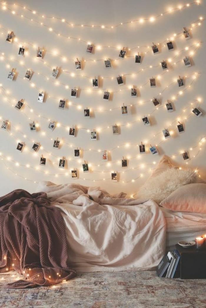 eine Fotowand-Lichterkette für das Schlafzimmer
