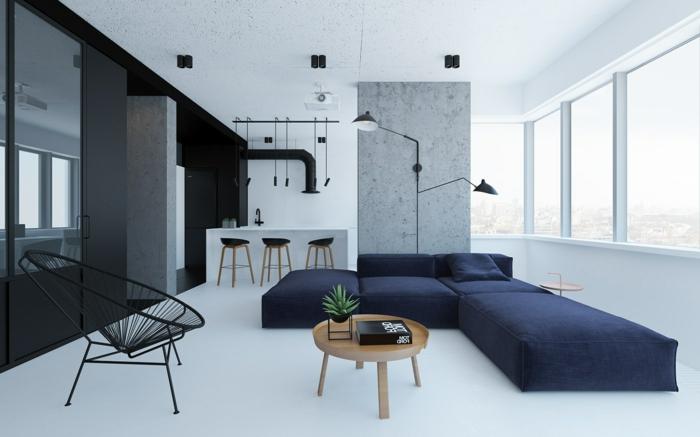 minimalistisch leben: Wohnzimmer im minimalistischen Stil, Möbel mit simplem Design