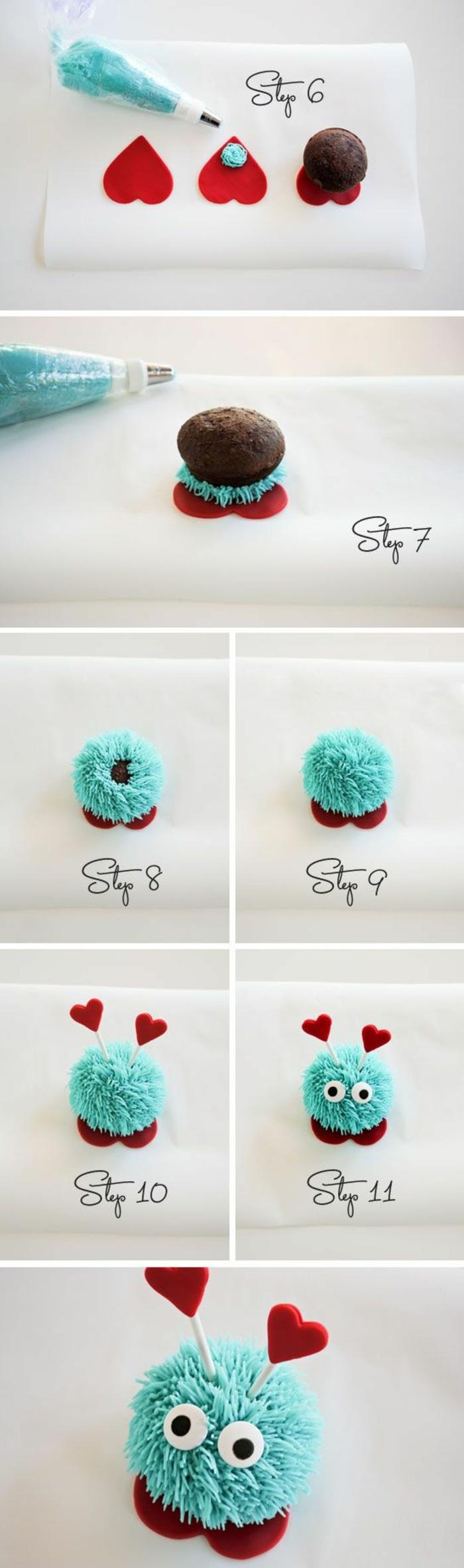 cupcakes dekorieren mit blauer sahne und kleine herzchen