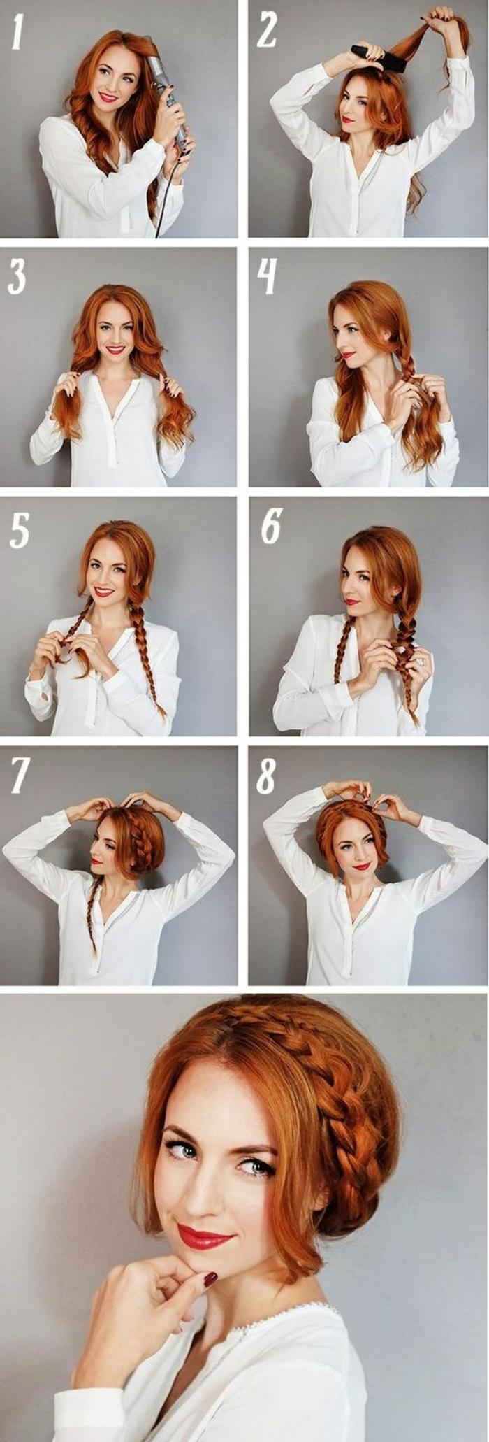flechtfrisuren selber machen - dame mit weißer bluse und roten haaren