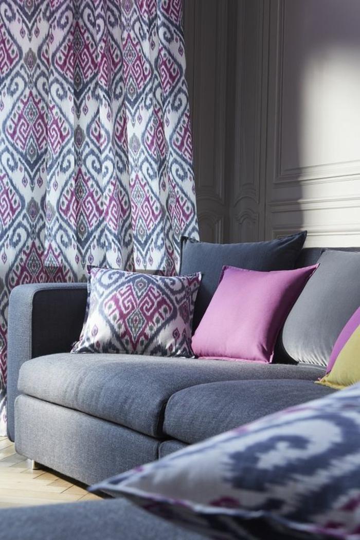 wunderschöne moderne vorhänge in weiß, lila und grau