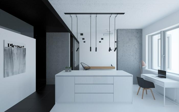 in einer zwei-Zimmer-Wohnung mit weißen Möbeln minimalistisch leben