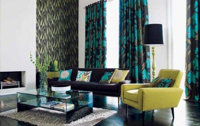 moderne vorhänge in schwarz mit grünen blättern