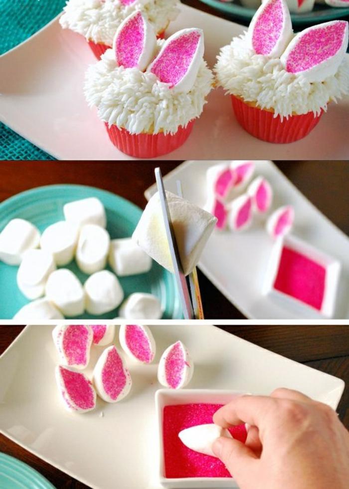 cupcakes dekorieren mit weißer sahne und kleinen hasenohren