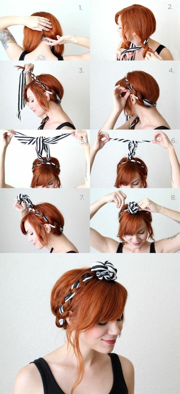 bandana frisuren - dame mit roten haaren und hochsteckfrisur mit gestreiftes haartuch