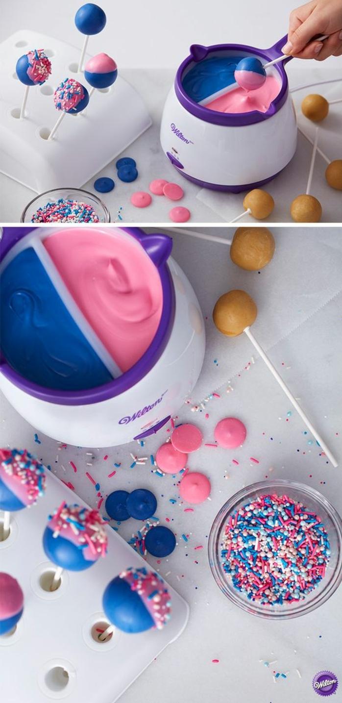 cake pops mit glasur und bunten zuckerperlen