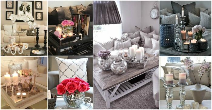 unterschiedliche Wohnzimmer Deko Ideen für Couchtisch mit Blumen und Kerzen