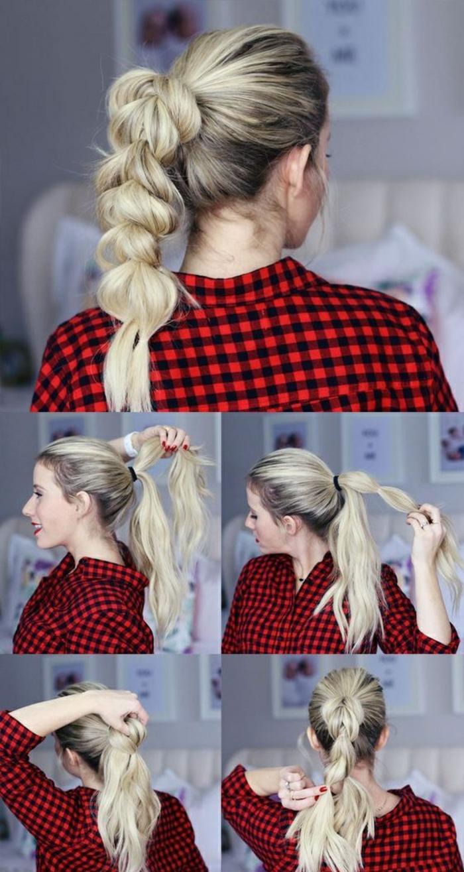 flechtfrisuren selber machen - dame mit rotem kariertem hemd und blonden haaren