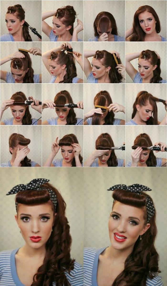 bandana frisuren - lange, lockige haare, schwarzes gepunktetes haartuch