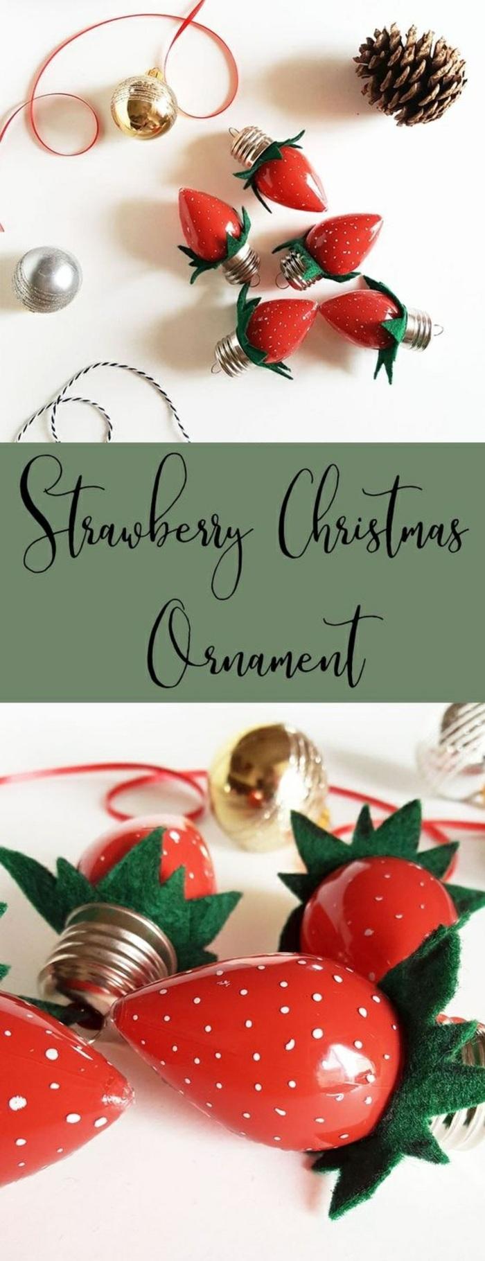 weihnachtskugel-erdbeeren, birnen, tannenzapfe, schleife