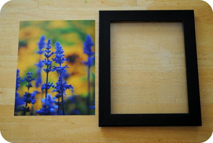 bilderrahmen selber machen, foto mit blauen blumen